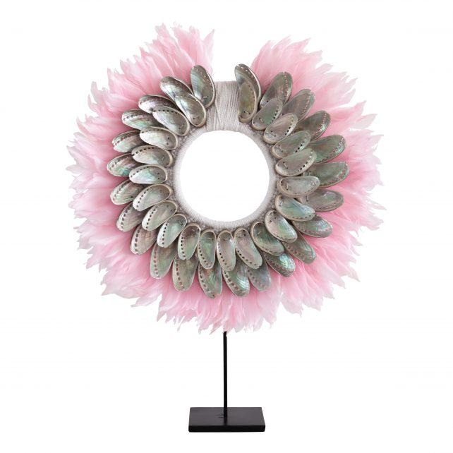 Schelpenketting veren roze en grijze schelpen