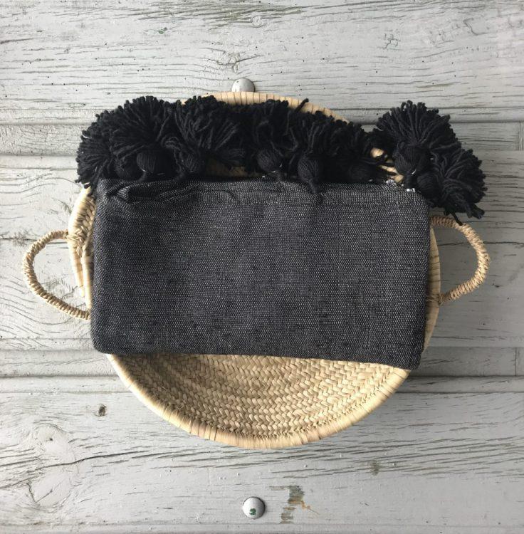 Pompom Deken Zwart