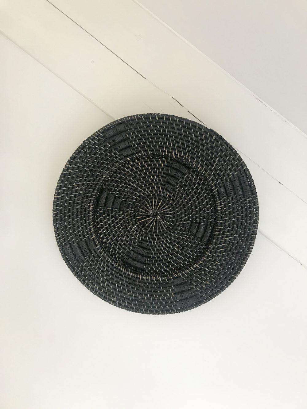 Rotan wandhanger zwart