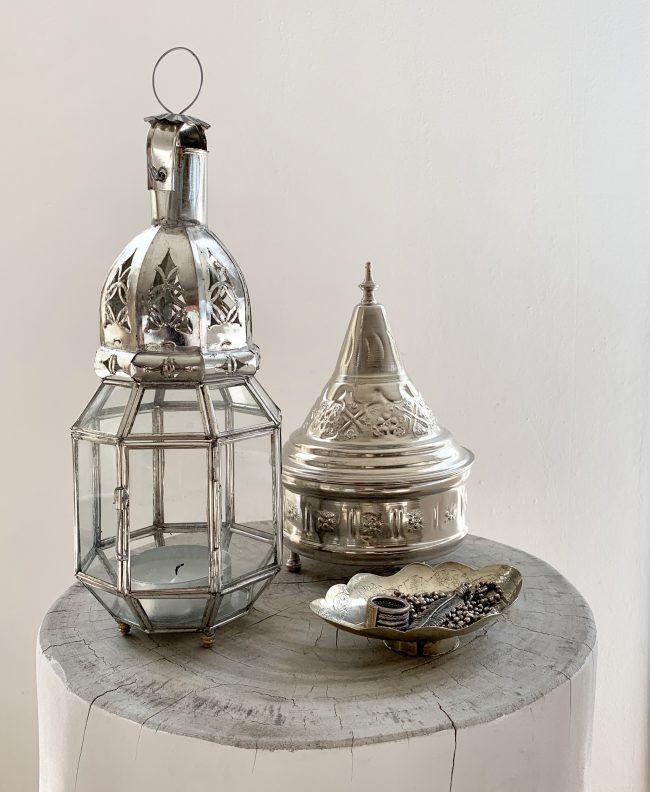 Lantaarn zilver achtkant