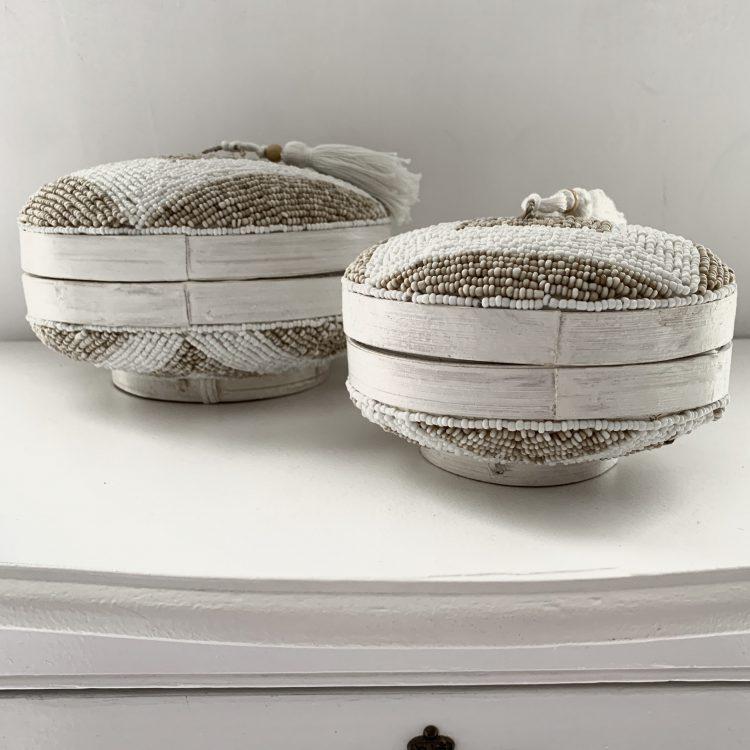 Kralendoos zand wit s en xs